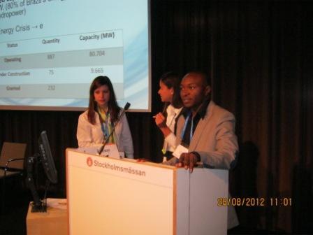 Danny MBUYI à la semaine internationale de l'Eau à Stockholm Aout 2012
